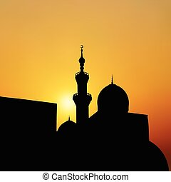 sunset mosque. landscape with beautiful mosques and minarets. Ve