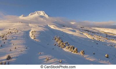 Sunset Mount Hood Timberline Cascade Range Fresh Snow Aerial...