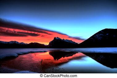 Sunset Mount Rundle Vermillion Lakes in Winter