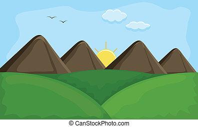 Sunset Mountain Landscape Vector