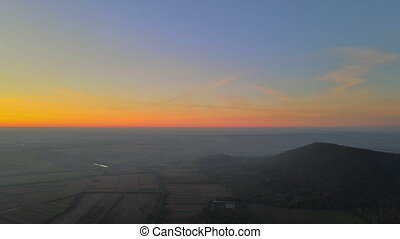 Great view of the foggy in the sunset mountains scenic overlook forest highlands