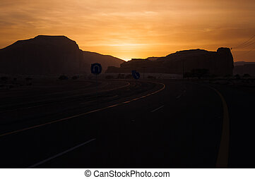 Sunset near Al-Ula in the deserts of Saudi Arabia
