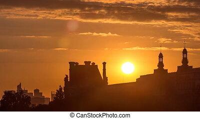 Sunset near Pont des Arts in Paris timelapse, France -...