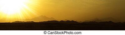 Sunset near the mountains