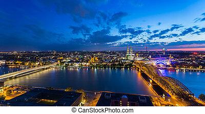 Sunset night skyline panorama of cologne city