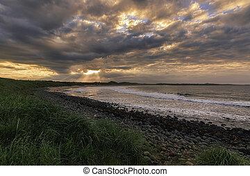 Sunset northumberland, - Sunset on the northumberland coast,...