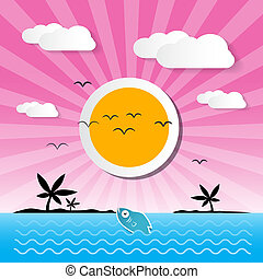 Sunset Ocean Background with Sun, Palm, Island, Clouds and Fish
