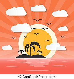 Sunset Ocean Illustration with Island and Palm