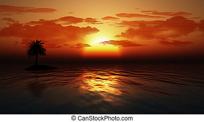 Sunset ocean with palm tree