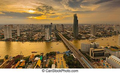 Sunset of Bangkok City