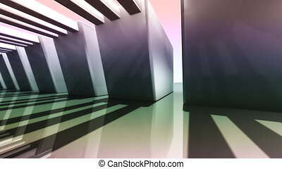 sunset of futuristic 3D Corridor side