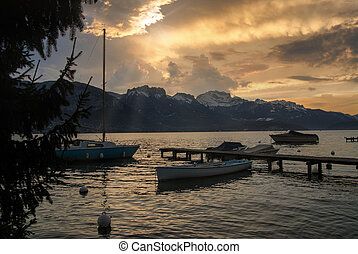 sunset of lake of Annecy, french Alps