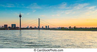 sunset of Rhein river at Dusseldorf