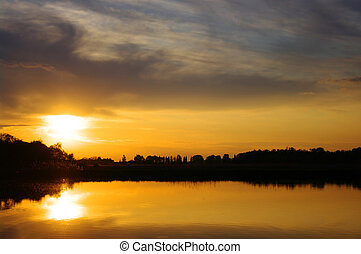 sunset of the lake