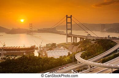 Sunset of Tsing Ma Bridge in Hong Kong