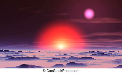 Sunset of Two Suns on Alien Planet