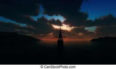 sunset old ship sails from the port 4k