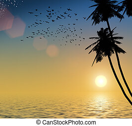 sunset on a background of the sea, palm trees, and birds