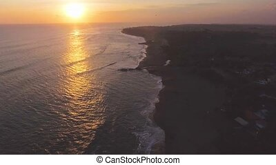 Sunset On a Bali Echo Beach Drone View