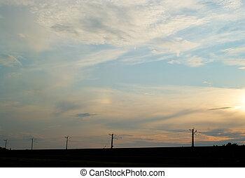 Sunset on a blue sky