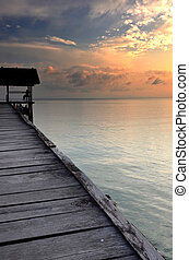 Sunset on a boat dock