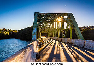 Sunset on a bridge over Prettyboy Reservoir, in Baltimore ...