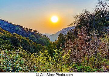 Sunset on a mountain