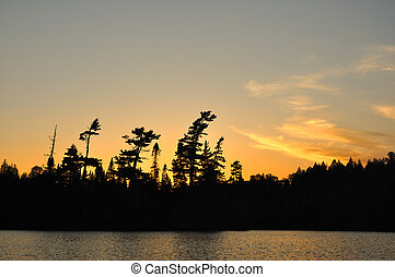 Sunset on a Remote Wilderness Lake