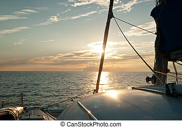 Sunset on a Sailboat