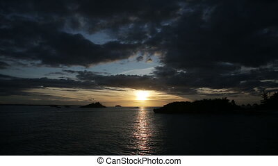 Sunset on a tropical island.