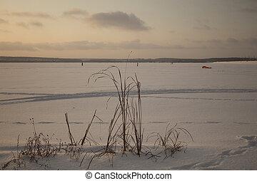 Sunset on a winter lake