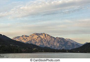 sunset on Alpine lake Mondsee, Austria