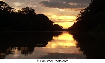 Sunset On Amazon River