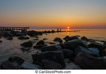 Sunset on Baltic sea coast
