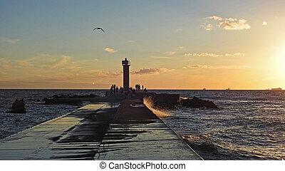 Sunset on Baltic Sea coast.