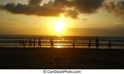 Sunset on beach, Kuta, Bali, Indone