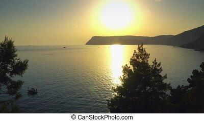 Sunset On Black Sea Bay Crimean Mountains Summer Sevastopol