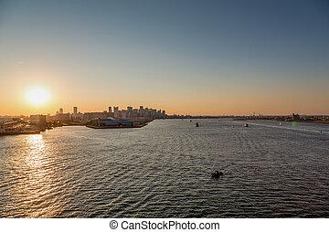 Sunset on Boston Harbor