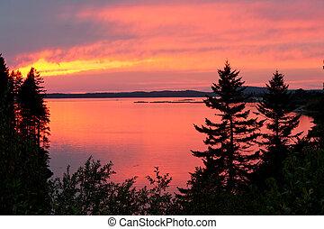Sunset near Roosevelt Campobello International Park, New Brunswick