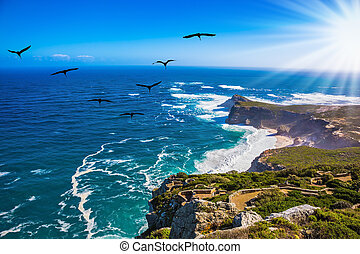 Sunset on Cape of Good Hope - The powerful ocean surf in the...