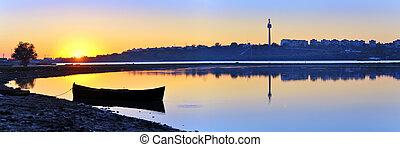 sunset on danube river