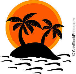 Sunset on desert island - Desert island and sunset vector...