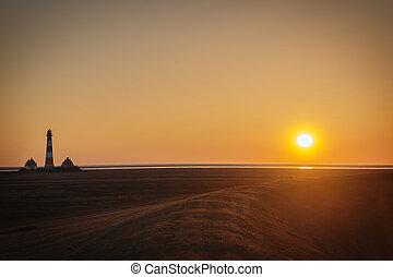 Sunset on dike of Westerhever