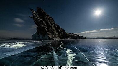Sunset on freeze ice of the Baikal lake. Slow camera motion...