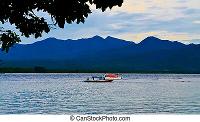 Sunset on Gili Air island Indonesia