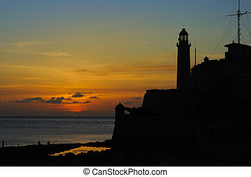 "Sunset on Havana fortress ""El Morro - Silhouette of ""el ..."