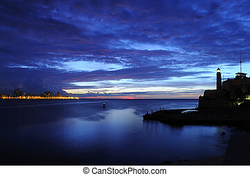 "Sunset on Havana fortress \""El Morro - Silhouette of..."