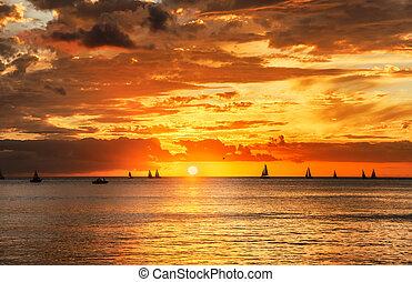Sunset on Hawaii Island of Oahu