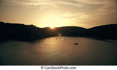 Sunset on island Mljet - Copter aerial view of the island...