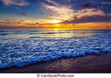 Sunset on Karon Beach. Phuket Island. Thailand.